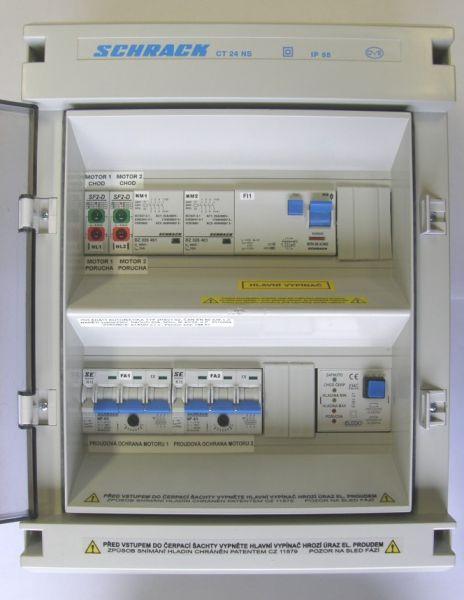 ovládací automatika 2HSV1.02 pro dvě čerpadla s proudovým chráničem